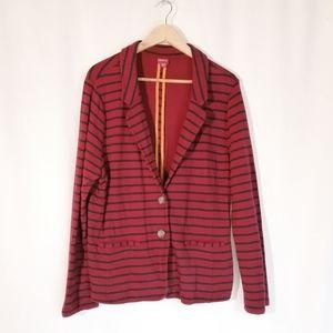 Merona Red and blue striped Jersey blazer